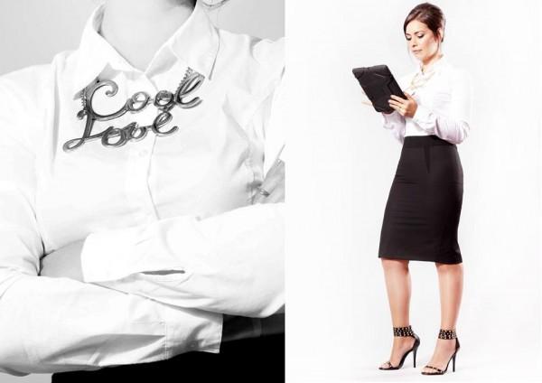 Mommy Blogger: Camisa básica en algodón blanco añil de Sisley. Falda lápiz negra en dos texturas de Benetton. Sandalias de pulsera con tachas y Collar Cool & Love de La Morada.