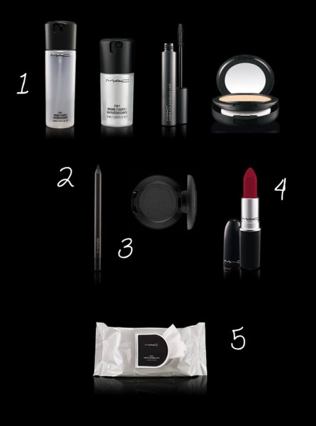 1. Studio Fix+ 2. Powerpoint Pencil 3. Carbon (sombras) 4. Ruby Woo (lápiz labial) 5. Wipes (toallitas desmaquillantes).